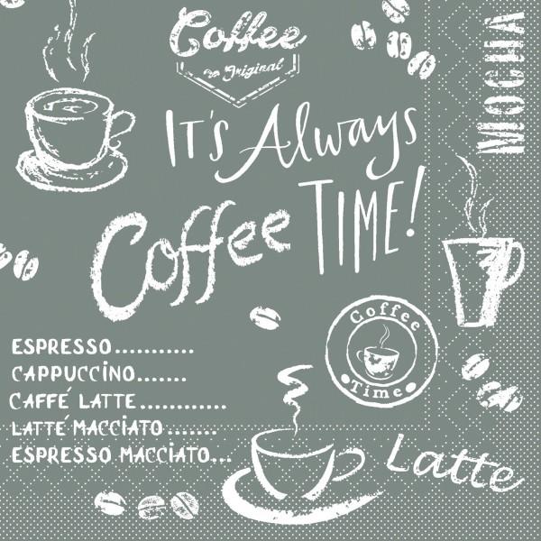 Tissue Serviette Coffee Time in Anthrazit, 25 x 25 cm, 100 Stück - Mank