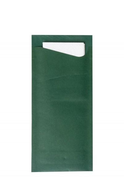 Bestecktasche Prime Fit in Dunkelgrün 85 x 190 mm, mit 2-lagiger Tissue-Serviette in Weiß -500 Stück