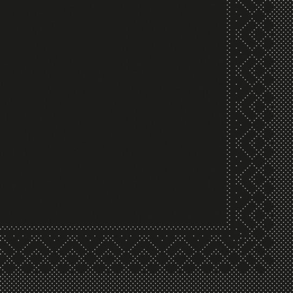 Tissue Serviette Schwarz, 40 x 40 cm, 100 Stück - Mank
