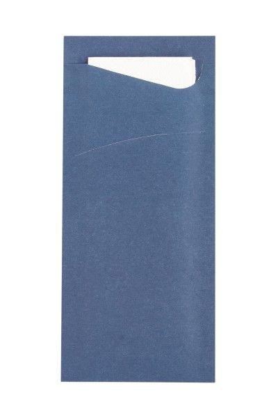 Bestecktasche Prime Fit in Dunkelblau 85 x 190 mm, mit 2-lagiger Tissue-Serviette in Weiß -100 Stück