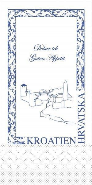 Tissue Serviette Kroatien, 40 x 40 cm, 1/8 Falz, 125 Stück - Mank