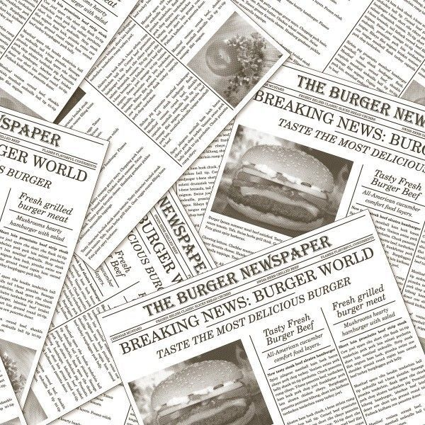 Burgerpapier Newspaper in Grau 30 x 30 cm, 2000 Stück - Mank