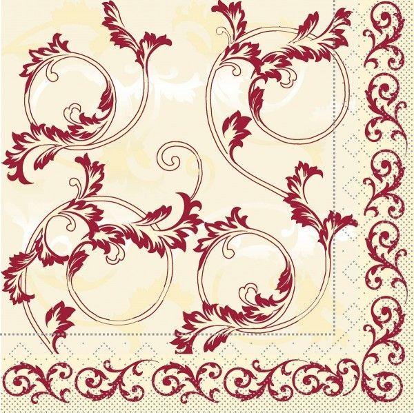 Tissue Serviette Michel in Bordeaux 33 x 33 cm, 100 Stück - Mank