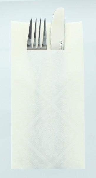 Airlaid Besteckservietten Damast in Weiß, 40 x 40 cm, 75 Stück - Mank