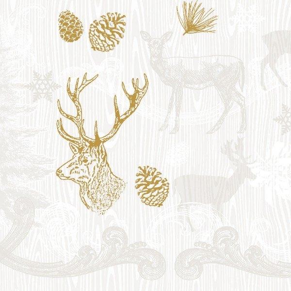 Tissue Serviette Bruno in Braun-Gold, 33 x 33 cm, 100 Stück - Mank