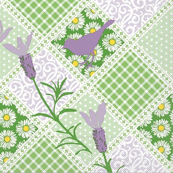 Tissue Serviette Garden in Grün-Lila, 33 x 33 cm, 100 Stück - Mank
