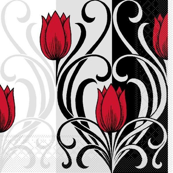 Tissue Serviette Annika in Rot-Schwarz, 33 x 33cm, 100 Stück - Mank