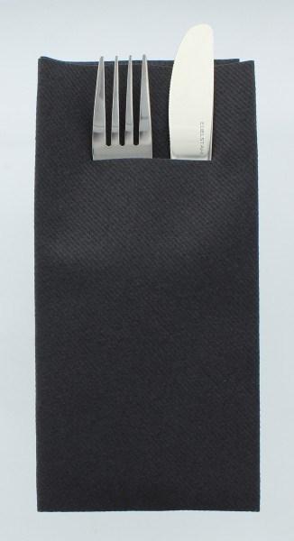 Airlaid Besteckservietten Schwarz, 40 x 40 cm, 75 Stück - Mank