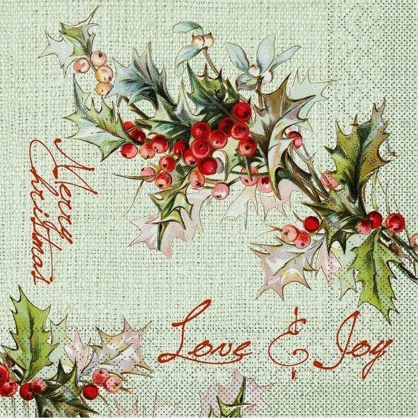 Tissue Serviette Love & Joy (ohne Besteck), 40 x 40 cm, 100 Stück - Mank