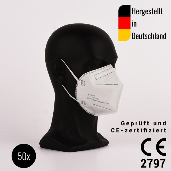 FFP2 Halbmasken, zertifiziert CE2797 - hergestellt in Deutschland - 50 Stück - Atemschutzmaske