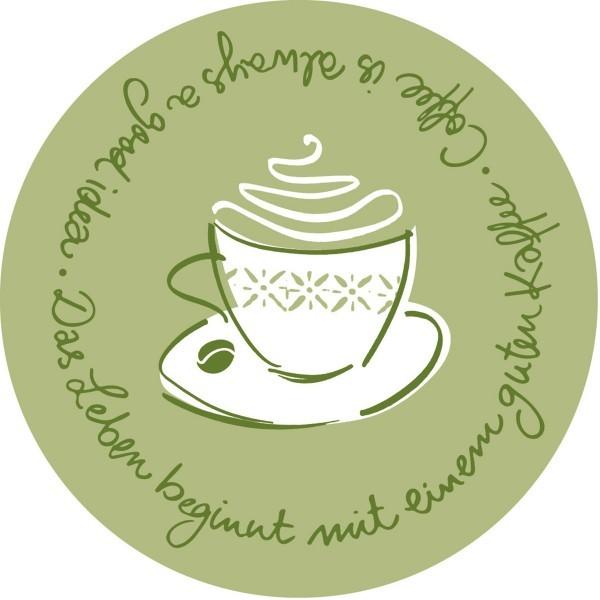 Tassendeckchen Tasty Coffee in Oliv, Tissue 9-lagig, Ø 90mm, 250 Stück - Mank