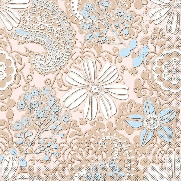 Tissue Serviette Gwenn in Braun-Hellblau, 40 x 40 cm, 100 Stück - Mank