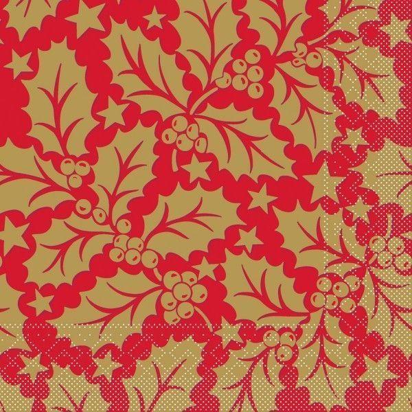 Tissue Serviette Michael in Rot, 33 x 33 cm, 100 Stück - Mank