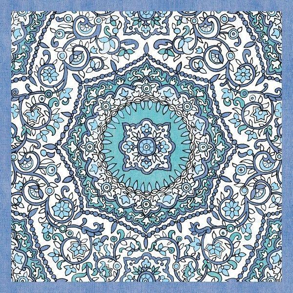 Airlaid Tischdecke Folklore in Blau, 80 x 80 cm, 50 Stück - Mank