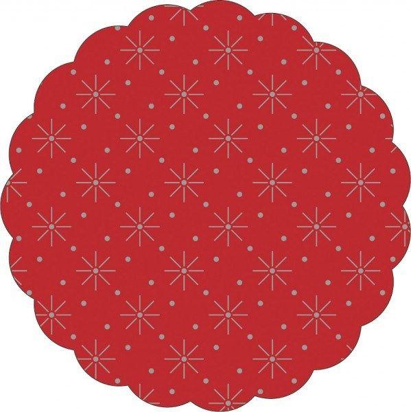 Tissue Deckchen mit Sterne - Punkte Prägung in Rot, Ø 80mm, 250 Stück - Mank