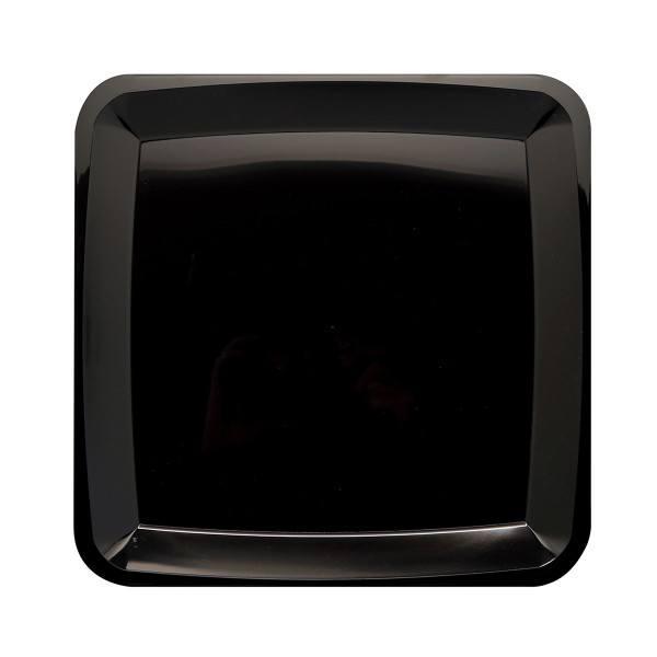 Einweg Serviertablett Teller Schwarz 35x35cm aus Plastik, 2 Stück - Mank