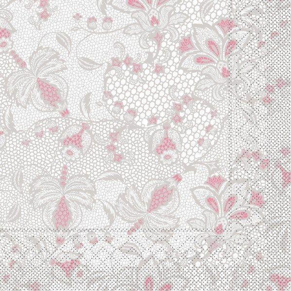 Tissue Serviette Dion in Grau-Rosa, 40 x 40 cm, 100 Stück - Mank