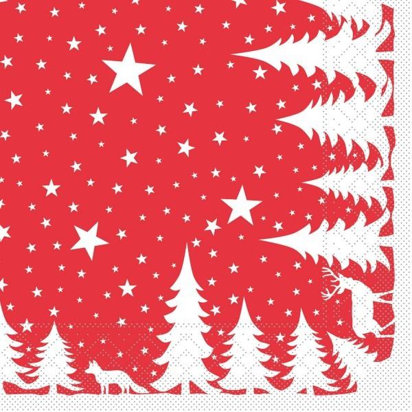 Tissue Serviette Lennert in Rot, 40 x 40 cm, 100 Stück - Mank