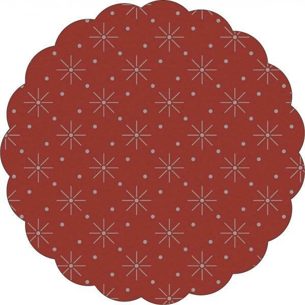 Tissue Deckchen mit Sterne - Punkte Prägung in Bordeaux, Ø 80mm, 250 Stück - Mank