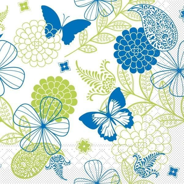 Tissue Serviette Natalie in Blau-Grün, 33 x 33 cm, 100 Stück - Mank