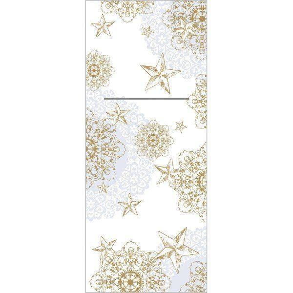 XL Airlaid Besteckservietten Sternenschein in Grau-Gold, 48 x 40 cm, 75 Stück - Mank