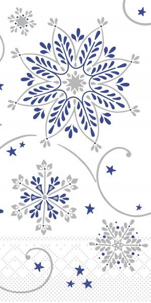 Tissue Serviette Cristal in Blau-Silber, 33 x 33 cm, 1/8 Falz, 100 Stück - Mank