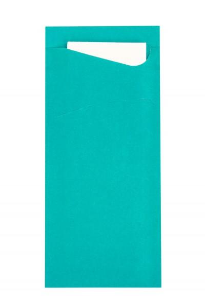 Bestecktasche Prime Fit in Petrol 85 x 190 mm, mit 2-lagiger Tissue-Serviette in Weiß - 100 Stück