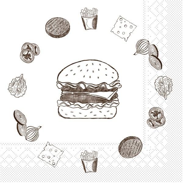 Tissue Serviette Burger Board in Grau 33 x 33 cm, 100 Stück - Mank