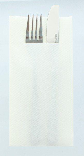 Airlaid Besteckservietten Weiß, 40 x 40 cm, 75 Stück - Mank