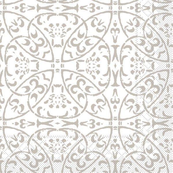 Tissue Serviette Claudio in Hellgrau, 40 x 40 cm, 100 Stück - Mank