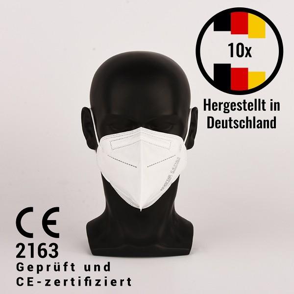 FFP2 Filtrierende Halbmaske - hergestellt in Deutschland, 10 Stück, CE 2163 - Atemschutzmaske