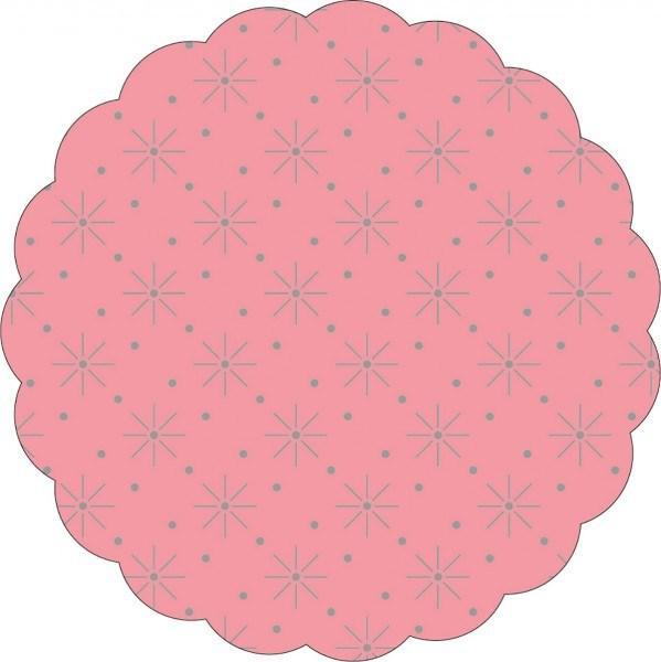 Tissue Deckchen mit Sterne - Punkte Prägung in Rosa, Ø 80mm, 250 Stück - Mank