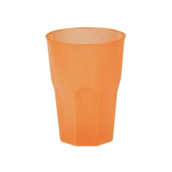 Mehrweg-Cocktailglas Orange-gefrostet 420ml aus Plastik, 6 Stück - Mank