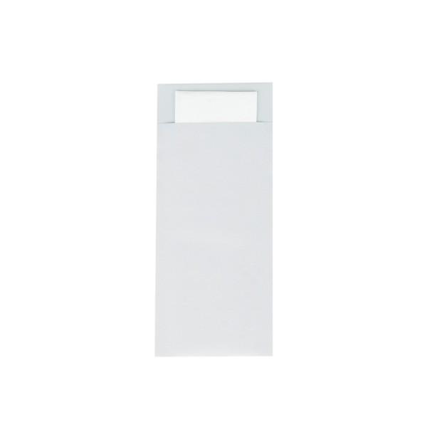 Bestecktasche in Perlgrau 85 x 200 mm, mit 2-lagiger Tissue-Serviette in Weiß - 500 Stück