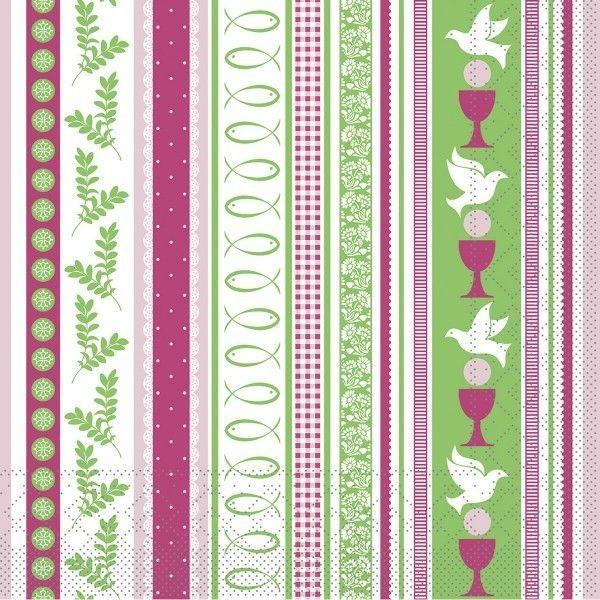 Tissue Serviette Kommunion/Konfirmation in Pink-Grün, 33 x 33 cm, 100 Stück - Mank