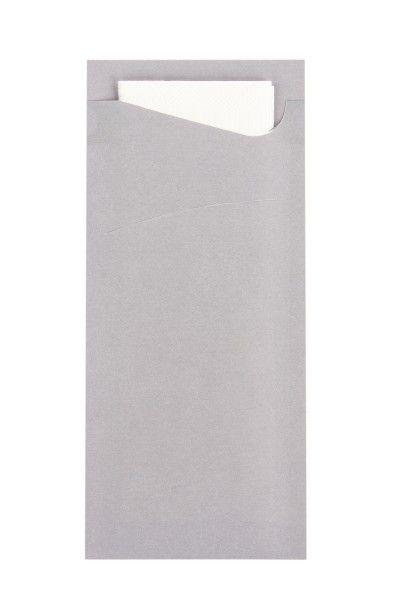 Bestecktasche Prime Fit in Grau 85 x 190 mm, mit 2-lagiger Tissue-Serviette in Weiß - 100 Stück