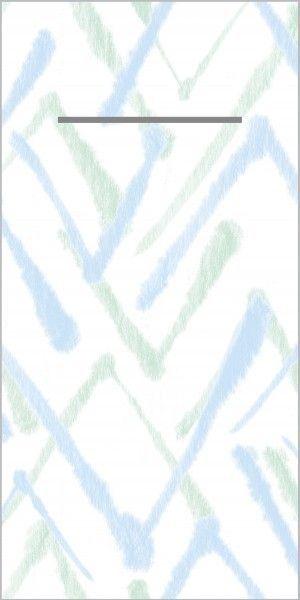 Airlaid Besteckservietten Zack in Grün-Blau, 40 x 40 cm, 75 Stück - Mank